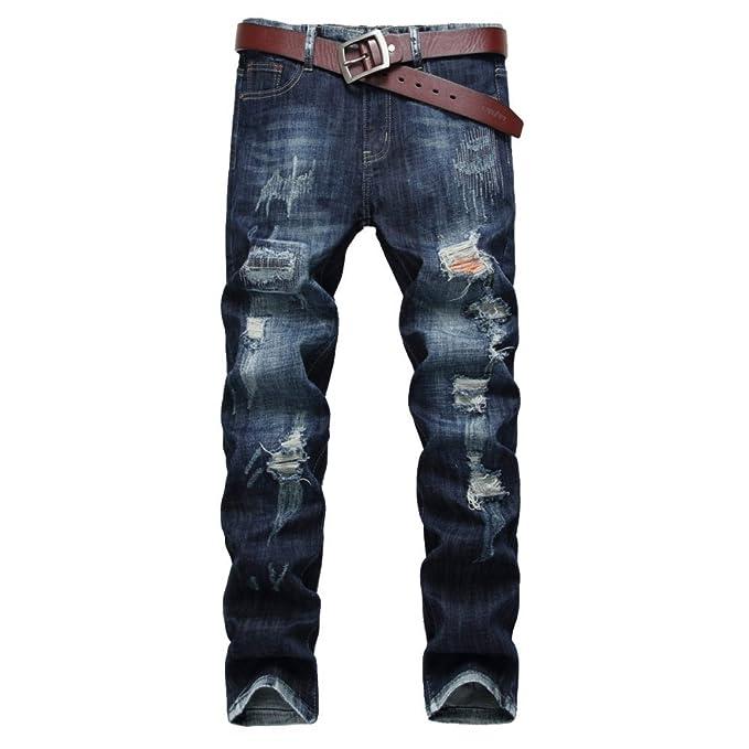 6221a1bb80 XIAOXUE Pantalones Vaqueros Rasgados De Los Hombres Jeans Rasgados Pantalones  Vaqueros Ajustados Delgados De Los Pantalones De Mezclilla Delgados del  Ocio ...