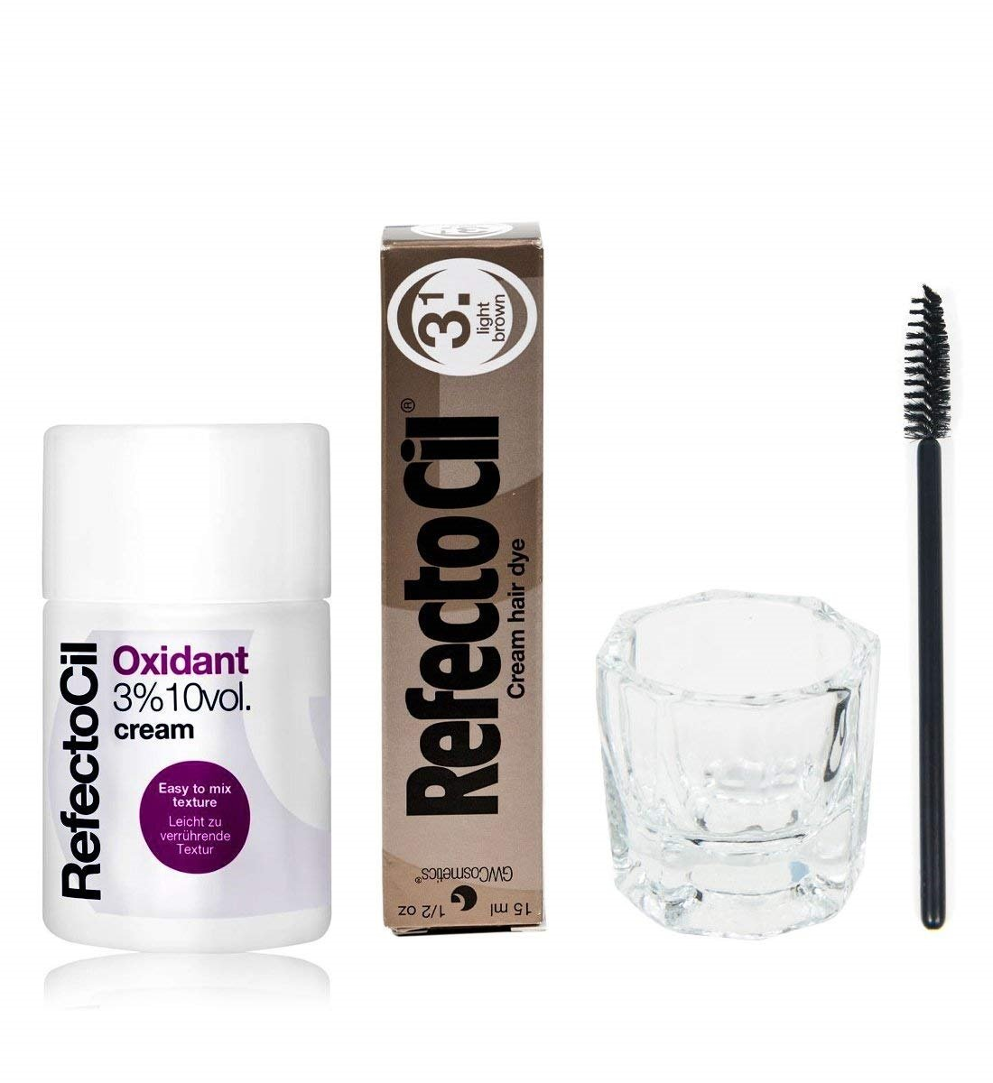Refectocil KIT - Light Brown Cream Hair Dye + Creme Oxidant 3% 3.4oz + Mixing Dish + Mascara Brush