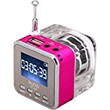 Music Player, soled Mini Digital Portable Music MP3/4 Player TF Card USB Disk Speaker FM Radio with Discoloration Rose