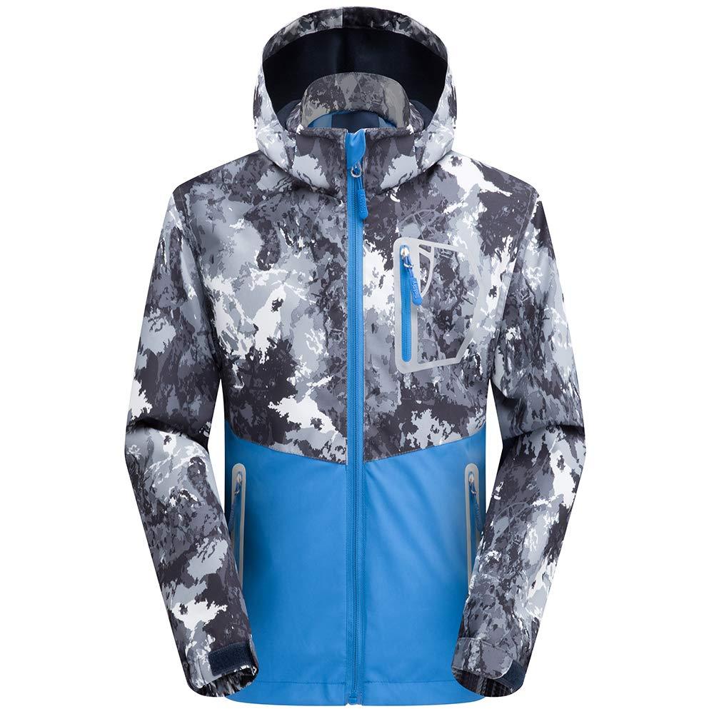 SaphiRose Boys Girls Rain Jackets for Winter Spring Fall (Blue,Detachable Hood,L) by SaphiRose