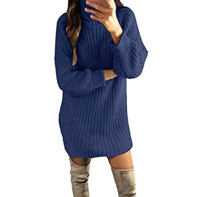 2b7bb06ea89a WUDUBE Womens Turtleneck Long Sleeve Solid Sweater Pullovers Blue Pink  Khaki White Clothing for Ladies Going Out Novelty Swing Fashion Sexy Casual  Swing ...