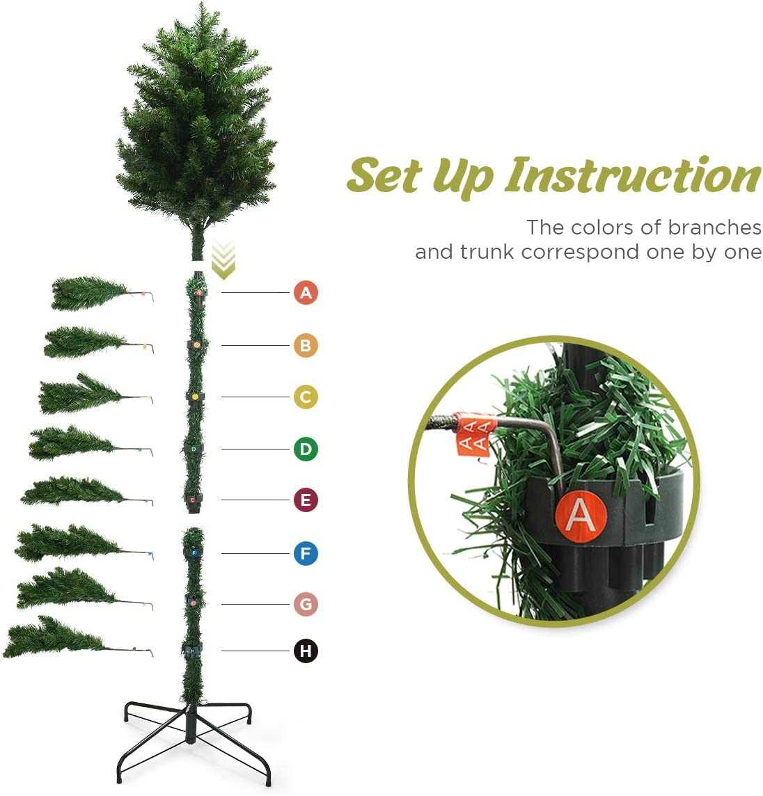 Decorative Christmas Tree Including 7 Feet Full Tree,Realistic 850 Thicken Tips LIFEFAIR 7ft Christmas Tree with Oranments and Lights 2 Set of 59ft Led String Lights with Plug