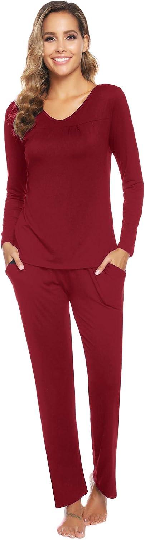 Arblove Womens Pyjama Sets Cotton Long Sleeve Loungewear Top /& Bottom Ladies Pjs Nightwear
