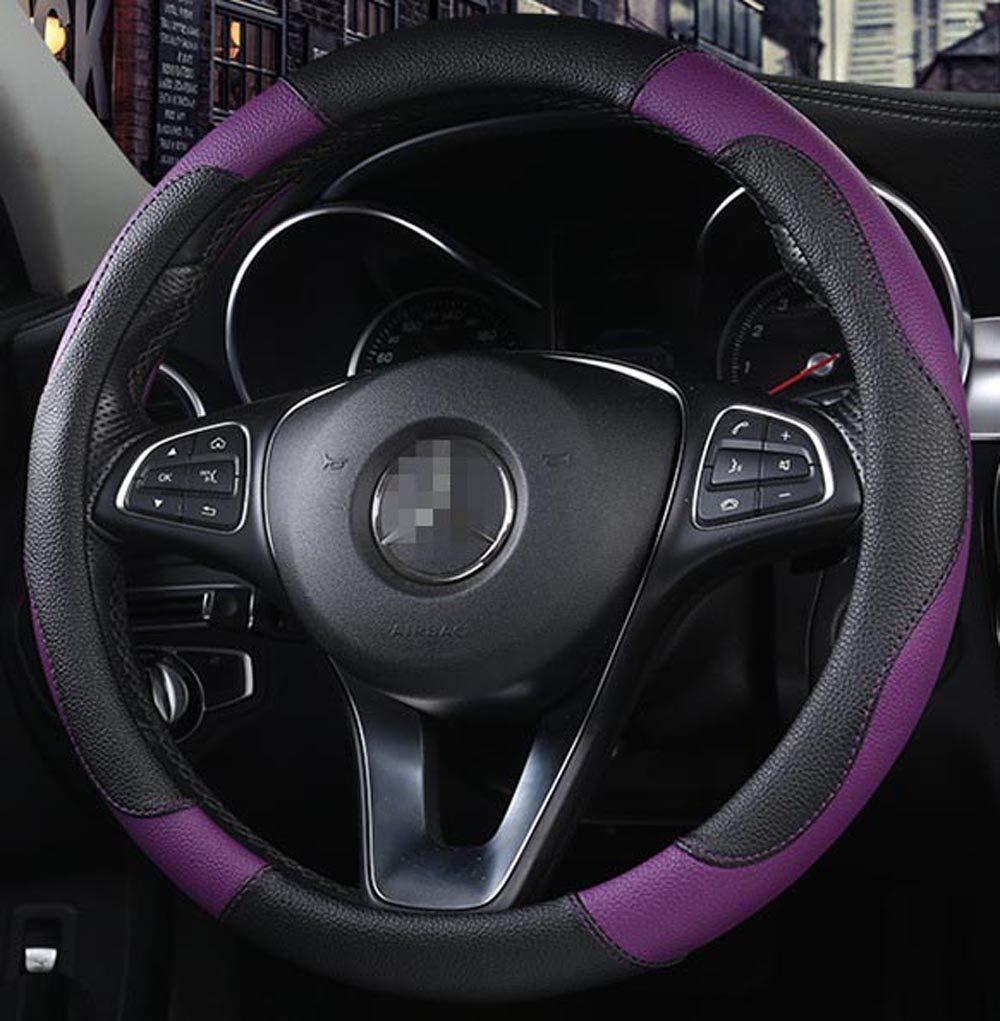 Transpirable Color de Contraste rosado Funda de Piel sint/ética para Volante de Coche Antideslizante Estilo Deportivo