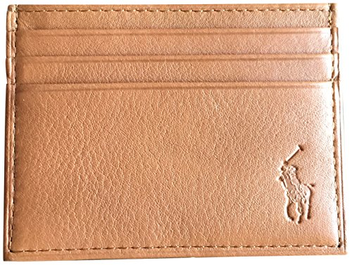 Ralph Lauren Polo Men Big Pony Logo Pebbled Leather Slim Card Case Brown