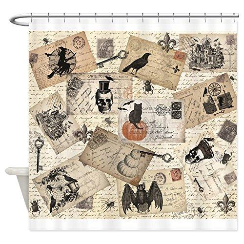CafePress modern vintage Halloween postcard collage Shower C Decorative Fabric Shower Curtain (69
