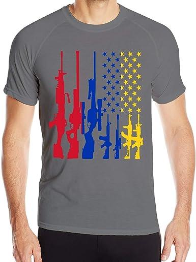Rifle Vintage Bandera Venezolana Americana Camiseta de Manga ...