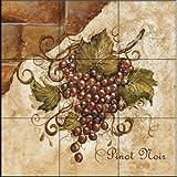 Ceramic Tile Mural - Tuscan Grapes II - by Tre Sorelle Studios - Kitchen backsplash / Bathroom shower