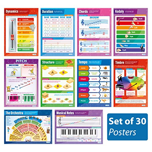 "Instrument Family Posters - Music Posters - Set of 30 Essential Music Posters | Classroom Posters for Music | Gloss Paper measuring 33"" x 23.5"" 