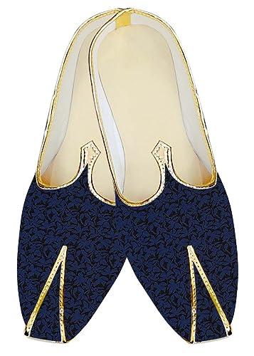 Mens Royal Blue Polyester Wedding Mojari Black Flower MJ18353