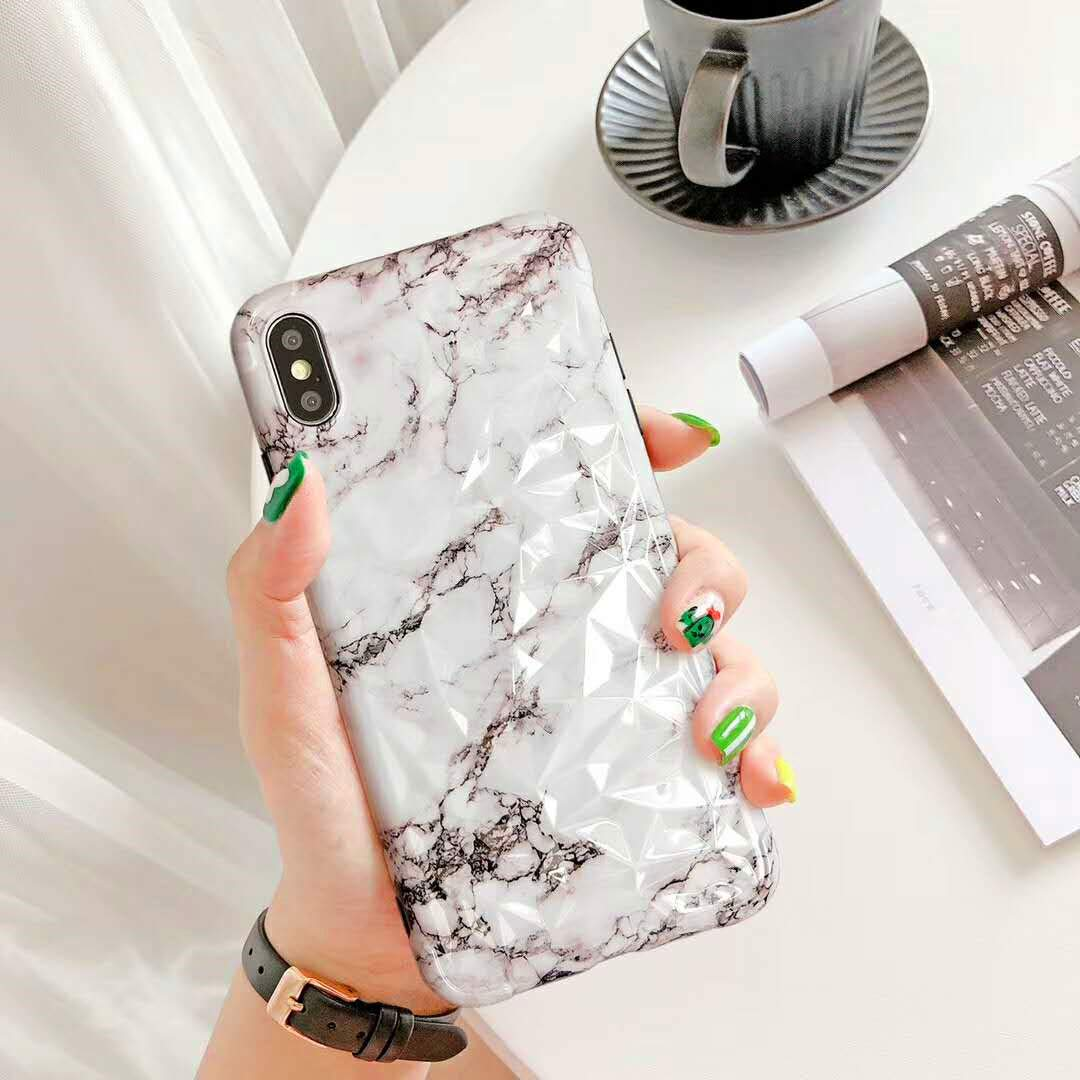 Amazon.com: Marble iPhone XR Soft Case, Hosgor Shiny Diamond ...