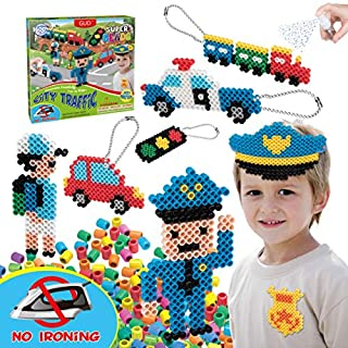 Kids DIY Water Fuse Non Iron Super Beads for Boys Arts and Crafts Toy Set. Boys Indoor Activity Fun Project City Traffic Crafts Kit for Boy. Birthday Gift Age 4 5 6 7 8 9 Year Old Boy Present Perler