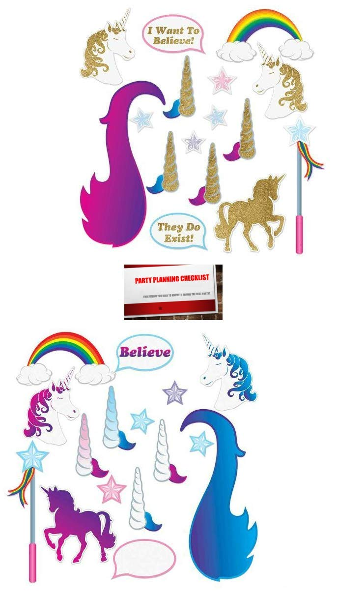 Plus Party Planning Checklist by Mikes Super Store Unicorn Sparkle Glittered Deluxe Reversible 32 Piece Photo Booth Props Set
