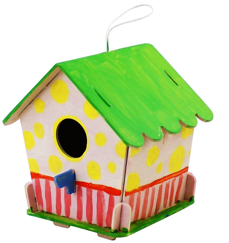 ROBOTIME 3D Puzzle en Bois Maison doiseaux avec des Outils de Peinture Enfant P/édagogique Woodcraft Puzzle Toy DIY Kit