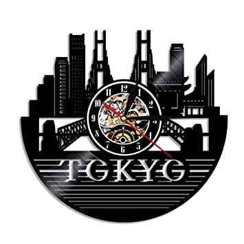 Mddjj 1 Pieza Tokyo Skyline Disco De Vinilo Reloj De Pared Arte De Pared Japonés Paisaje