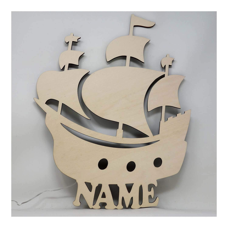 Led Design Schiff Nachtlicht Piratenschiff Lampe Geschenkidee mit Namen