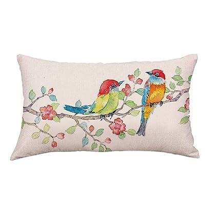 Pink Flower Bord Pillow Case Sofa Car Waist Throw Cushion Cover Home Car Decor