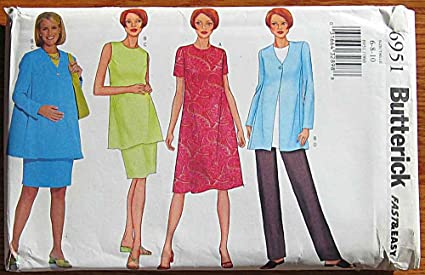 9bccf4a90 Amazon.com: Butterick 6951 Sewing Pattern ~ Misses' Maternity Dress ...