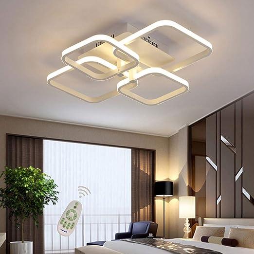 Lámpara de techo rectangular LED para comedor, comedor, salón, lámpara regulable con mando a distancia 3000 K - 6500 K, moderna, para el salón, el ...