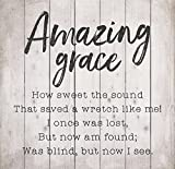 Amazing Grace Lyrics Whitewash 24.5 x 24 Wood Pallet Wall Plaque Sign