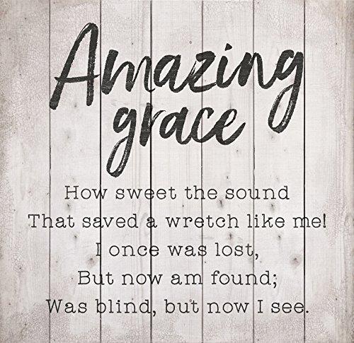 Amazing Grace Lyrics Whitewash 24.5 x 24 Wood Pallet Wall Plaque Sign by P Graham Dunn (Image #1)