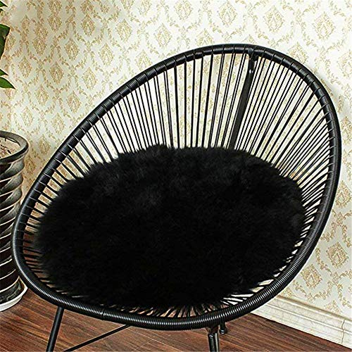 Eanpet Faux Sheepskin Chair Pad Round Cover Seat Cushion Pad Soft Fluffy Area Rug for Area Rugs for Chair Seat Pad Couch Pad Area Natural Rugs Black 1.5x1.5FT (Seat Leather Faux Pads)