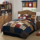 PEM America Classic Sports Piece Quilt Set in Denim and Clay - Twin