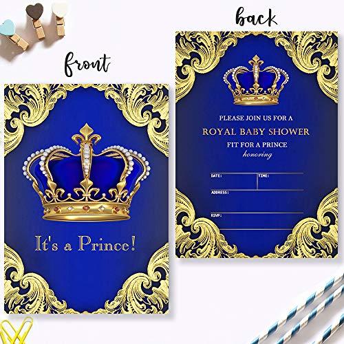 Mocsicka Royal Blue Prince Baby Shower Invitations Royal