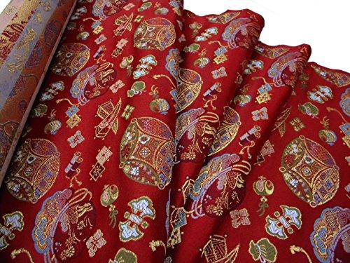 金襴のはぎれ 桂錦織 赤地宝尽くし (78cmX35cm単位)着物のはぎれ 西陣織帯地