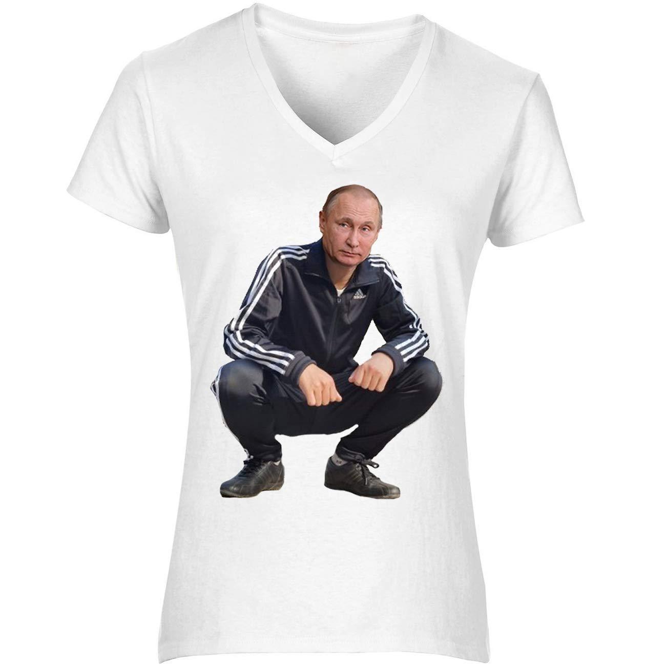 NoMoreFamous Putin Funny Gopnik Womens T-Shirt V Neck ...