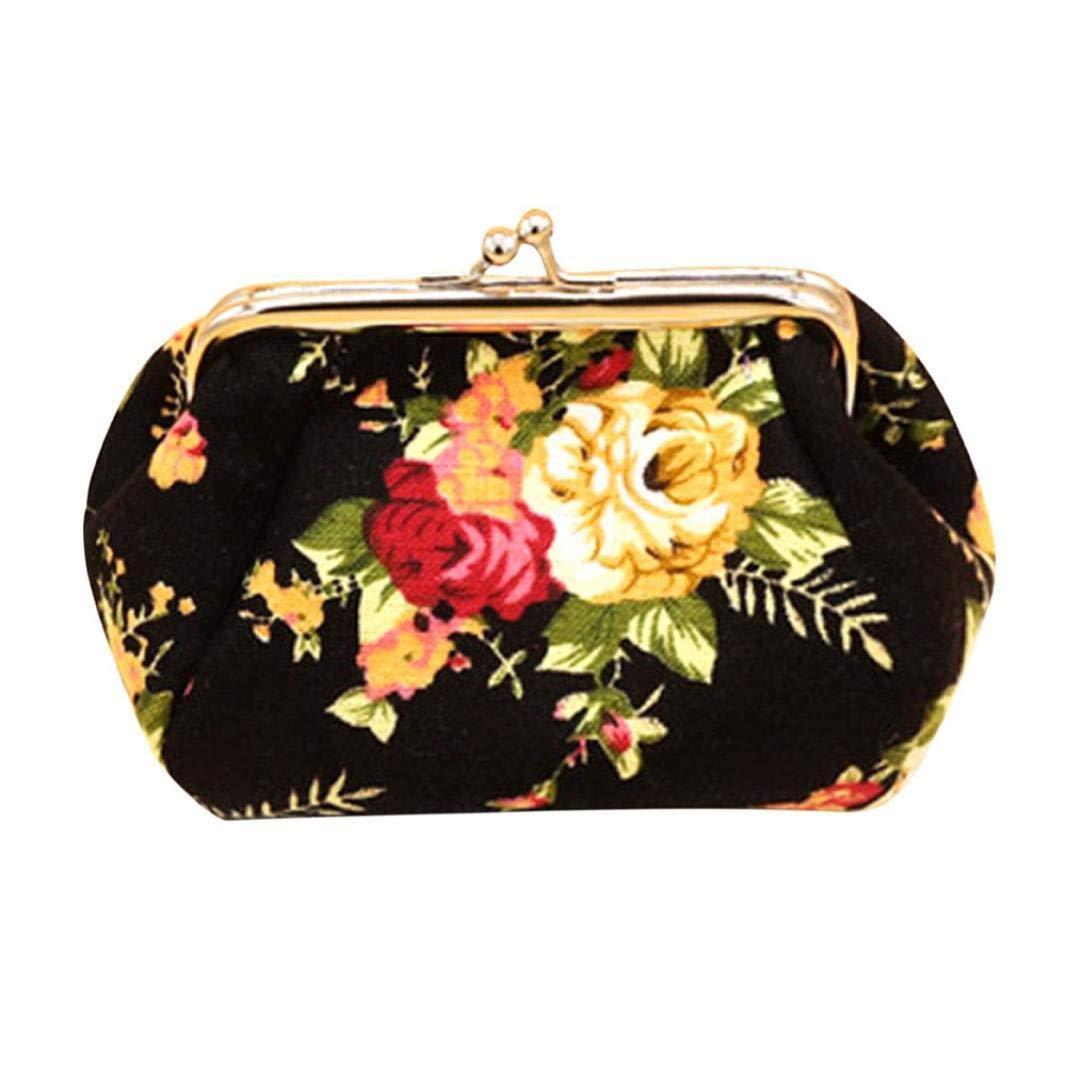 81cf843c9 BaZhaHei-Cartera Carteras Mujer Bolso de Embrague del Monedero del Cerrojo  de la Cartera de señora Lady Retro Vintage Flower Tarjeta de Crédito Slim  de ...