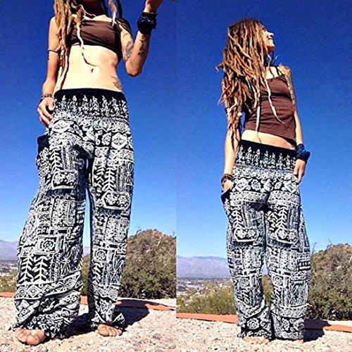 Moonuy Yoga Bohème Bouffant Hippie Bande Femme Haute Large Noir Stretchjogging Pantalons De Blouse Harem Festival Thai Taille rqrgwR