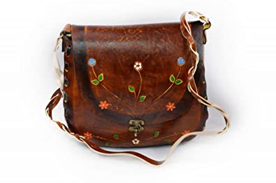58290365c30c Leathertown USA Women's Leather Hand Bag, Genuine Leather-Brown-11.5 ...