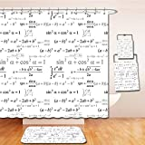 Beshowereb Bath Suit: Showercurtain Bathrug Bathtowel Handtowel Kids Decor School Math and Geometry with Science Formules Chalk Board Style Image Black and White