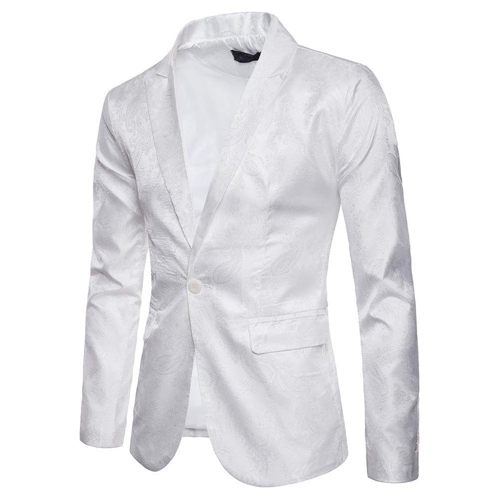 TAGGMY Men's Suit Jacket Slim Fit Formal Bussiness Long Sleeve Regular Fit Pattern Blazer Big and Tall Coat Top White