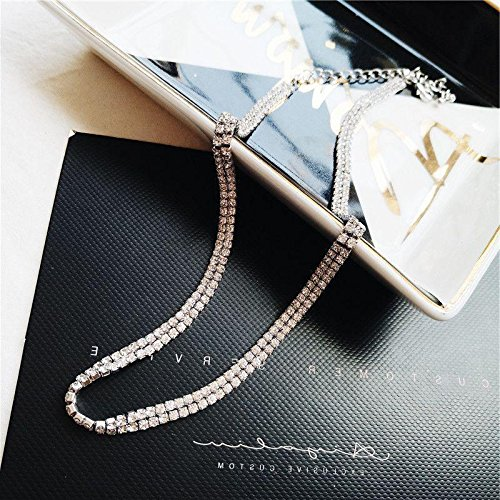 Generic Hot_ Korean fashion flash diamond necklace pendant ornaments women girl summer short _paragraph_ clavicle chain necklace pendant European _and_ American _minimalist_ temperament neckband