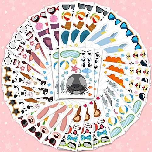 Amor 36 PCS Make-a-face Sticker Sheets Sticker Party Favors for Kids Animal Face Stickers for Festival, Reward, Art Craft, Party Favors, School