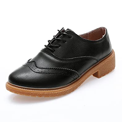 4e0a7674ffb Z.SUO Women s Perforated Lace-up Wingtip Leather Flat Oxfords Vintage  Oxford Shoes Brogues