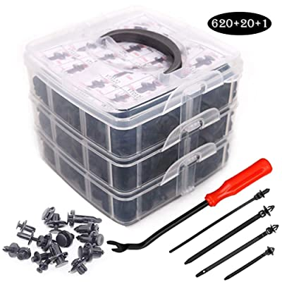 UTSAUTO 620Pcs Car Retainer Clips & Plastic Fasteners Kit Fender Rivet Clips 16 Most Popular Sizes Auto Push Pin Rivets Set for Toyota GM Ford Honda Acura Chrysler: Automotive