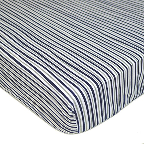 TL Care 100% Cotton Jersey Knit Fitted Crib Sheet for Standard Crib and Toddler Mattresses, Navy/Grey Funny Stripes, 28 x 52, for -