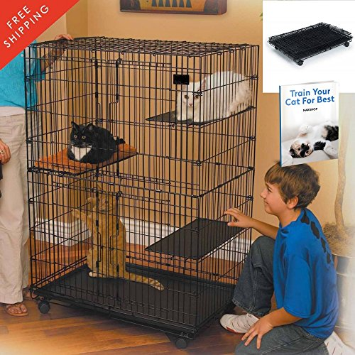 Foldable Cat Cage (Kitten Enclosure Cat Playpen Deluxe Cat Home Portable Foldable Large Cage Exercise Happy Habitat For Indoor Outdoor The Best Metal Yard Crates With Weels Shelf And eBook By NAKSHOP)