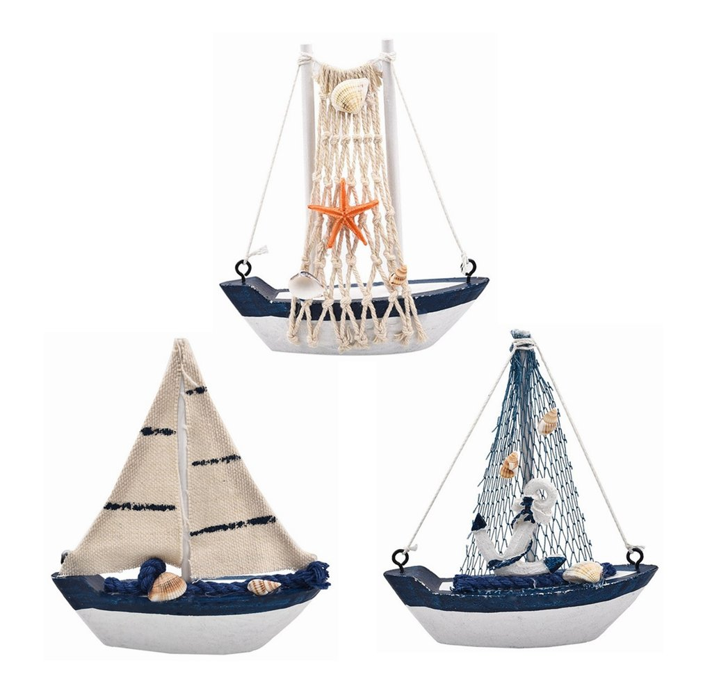 3 Pack Mini Mediterranean Marine Style Wooden Boat Ship Nautical Beach Fishing Net Sailing Boat Model Ornament Wood Crafts Home Wall Decor