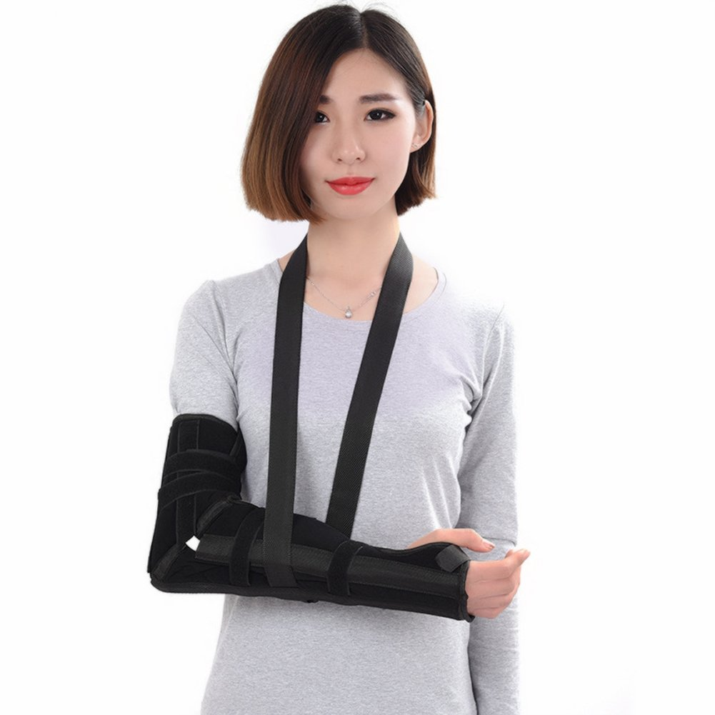Wgwioo Elbow Sling Arm Brace Correction Splint Immobilize Stabilize The Fracture Injured Wrist,Black,M