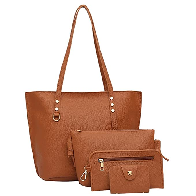 54fabe3fb32a4 Tomtopp 4pcs/Set Women PU Leather Female Solid Tote Bag Casual Messenger  Bags Purse: Amazon.in: Clothing & Accessories