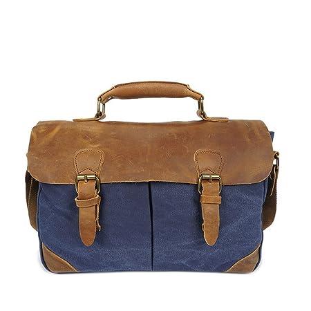 Jxth Multi-functional Stitching Men s Messenger Bag Vintage Waterproof Waxed  Canvas Genuine Leather Satchel Shoulder 3eff5dd31ec34