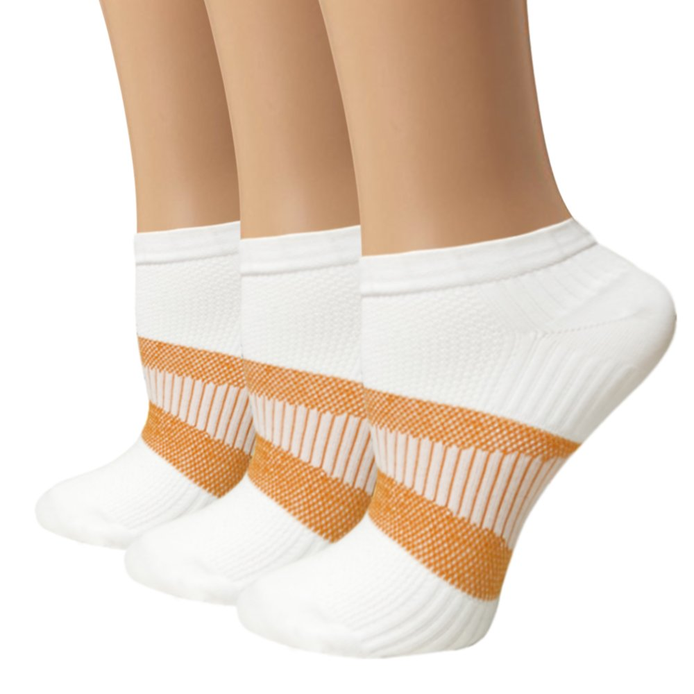 Copper Compression Socks For Women & Men - Athletic Ankle Socks Best For Running, Sport, Pregnancy and Travel (S/M, 3 Pairs White)
