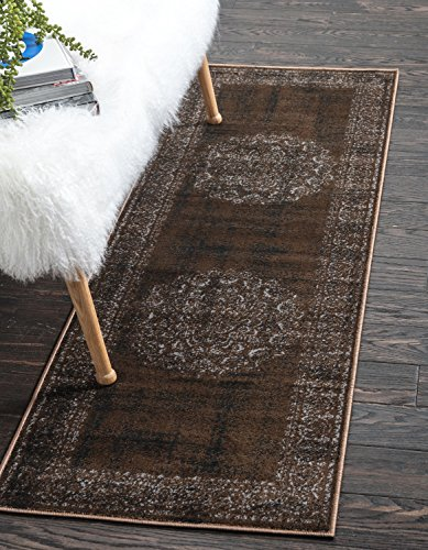 Unique Loom Imperial Collection Modern Traditional Vintage Distressed Chocolate Brown Runner Rug (2' 0 x 6' 0)