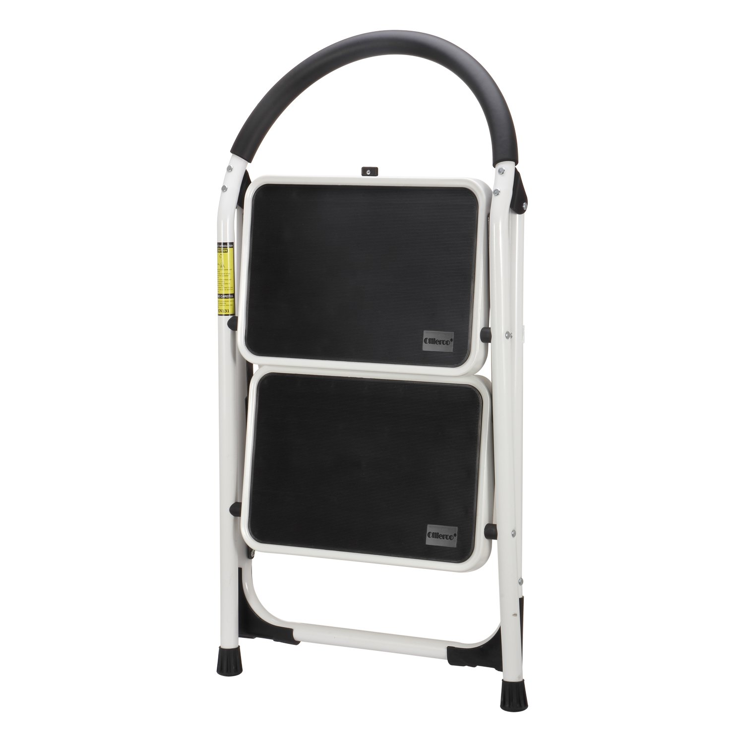 Ollieroo Step Stool EN131 Steel Folding 2 Step Ladder with Comfy Grip Handle Anti-slip Step Mon-marring Feet 330-pound Capacity White by Ollieroo (Image #3)
