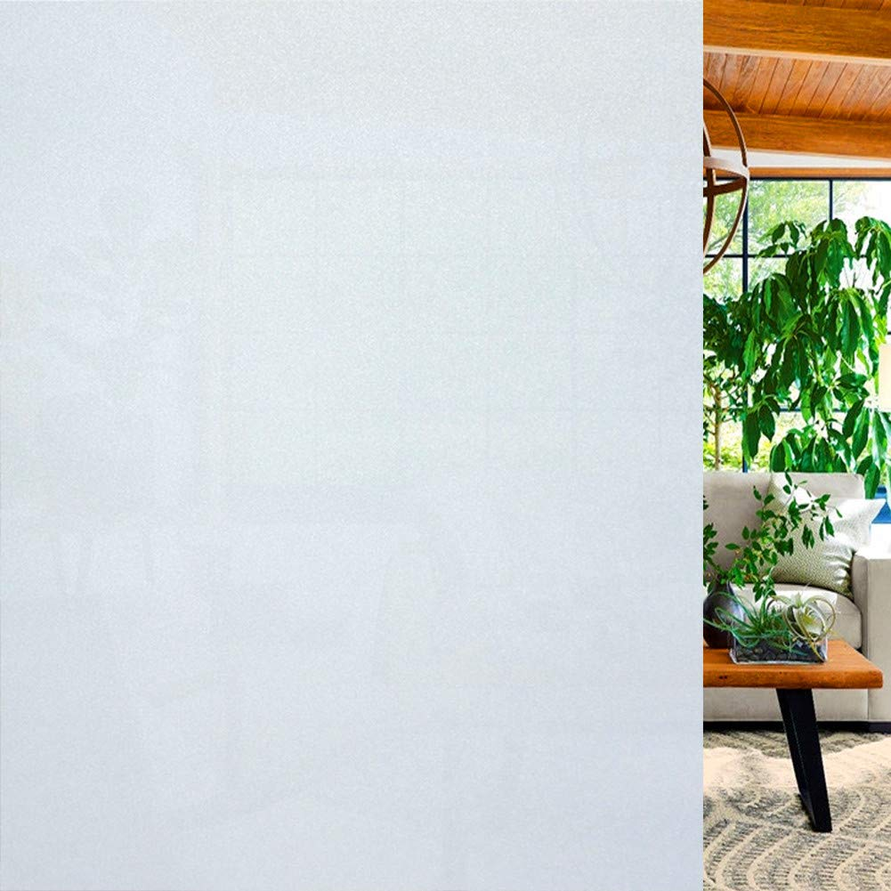 Window Films, No Adhesive Static Decorative Privacy Frosted Window Films for Glass (White, 35.4 x 178.5 inch) by Niaowo