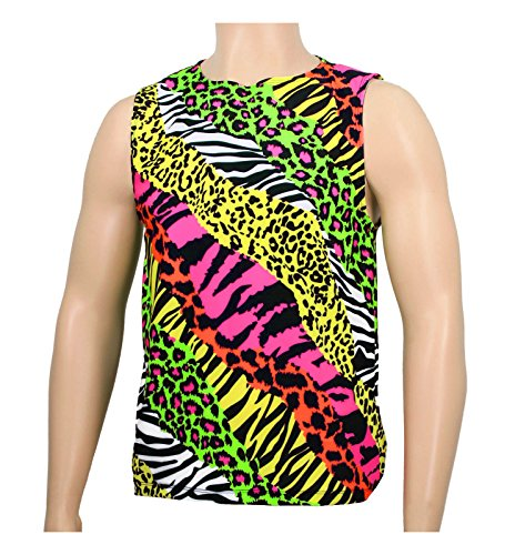 Men's Neon Zebra Heavy Metal Tank Top Shirt (Medium, (Glam Metal Halloween Costume)